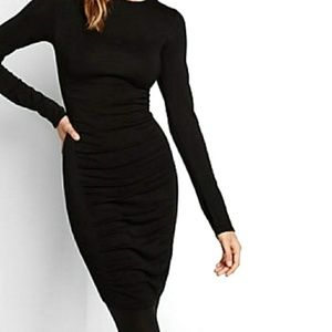 Express Dresses - Express Black Long Sleeve Ruched Dress Small